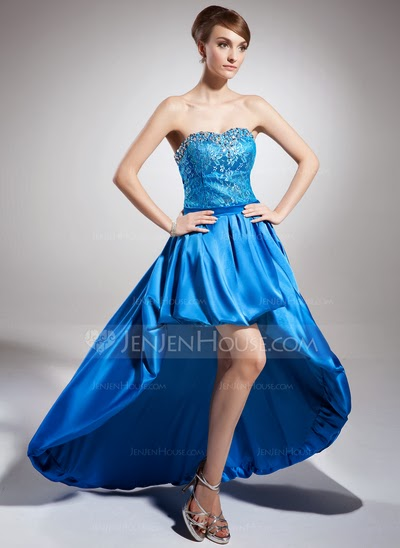 Asymmetrical blue strapless prom dress