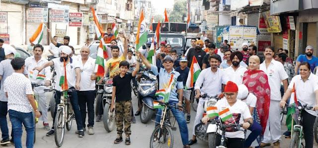 फरीदाबाद में भारतीय पंचनद सेना फरीदाबाद ने निकाली तिरंगा यात्रा