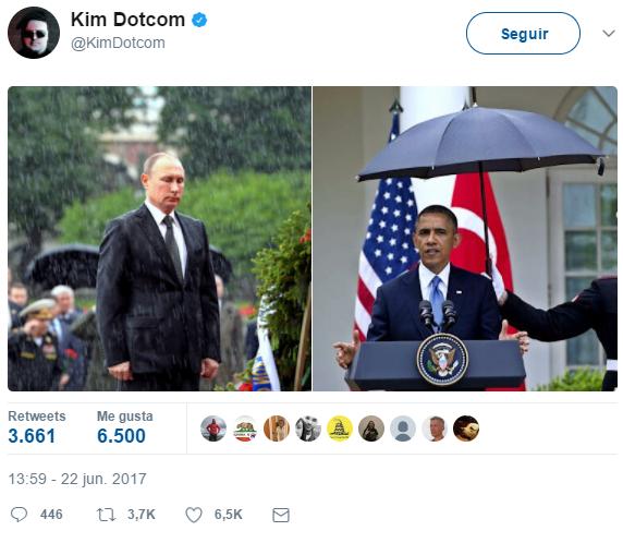 Fundador de Megaupload se burla de Obama con foto de Putin