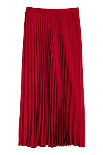 Czerwona plisowana spódnica H&M wyprzedaże super okazja trendy 2017 blogger
