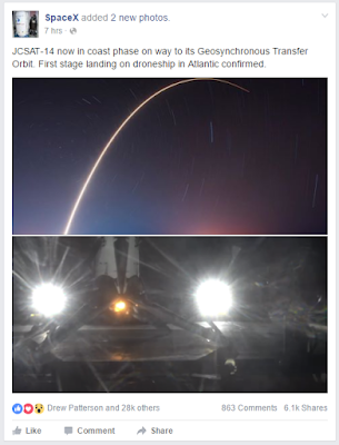 screen grab from Facebook; rocket arcing away; landed on barge