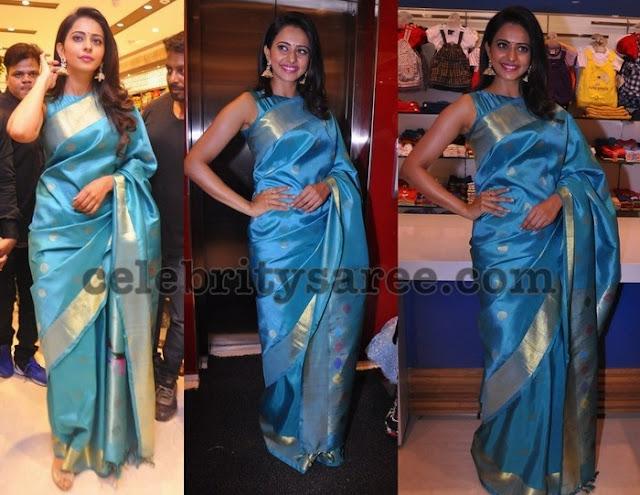 Rakul Preet Singh Blue Silk Saree