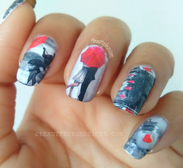 'Love in Air' Nailart Tutorial using beautybigbang 'couple eiffel tower theme' water decals