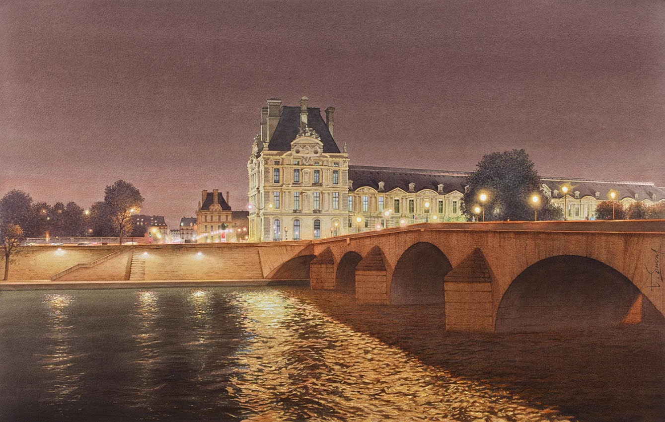 23-Louvre-Pont-Royal-Thierry-Duval-Snippets-of Real-Life-in Watercolor-Paintings-www-designstack-co