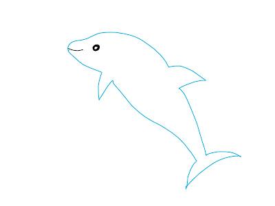アイコン 「イルカ」 (作: 塚原 美樹) ~ 目と口を描きいれる