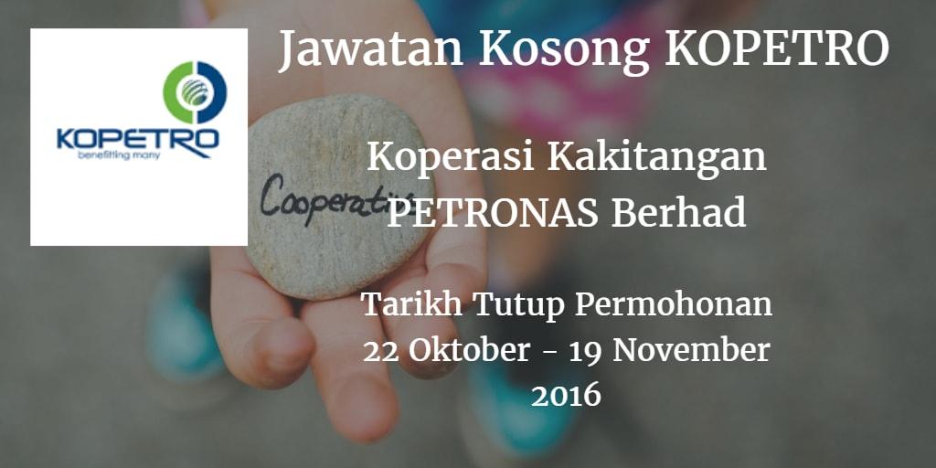 Jawatan Kosong KOPETRO 22 Oktober - 19 November 2016
