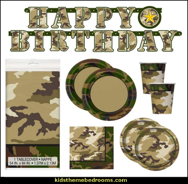 Camo Birthday Party Supplies Set   army party decorations - Camouflage Party Supplies - army party ideas - Military party ideas for a boy birthday party - Army & Camouflage decorations - army party decoration ideas - army themed party - army costumes - Army Camo Party Supplies -