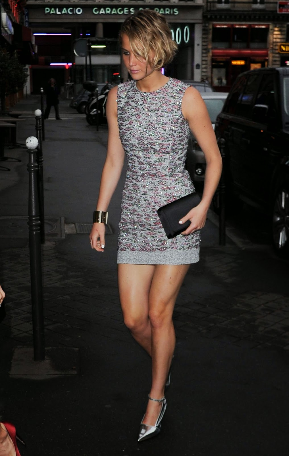 Jennifer Lawrence in a metallic embroidered mini dress at ...