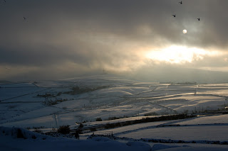 Yorkshire hills covered by snow.