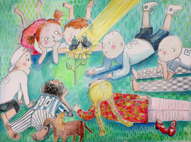#spring #magical #spectacle #children #dog #redshoes #butterfly #blue #mixedmedia #illustration #art #drawing