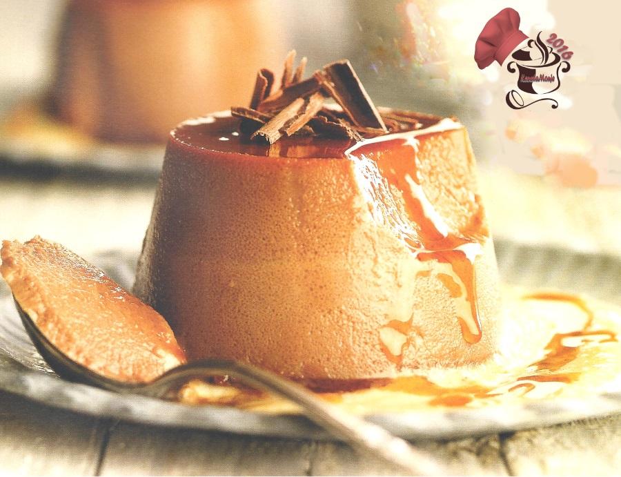 Flan de cacao con natillas de galleta