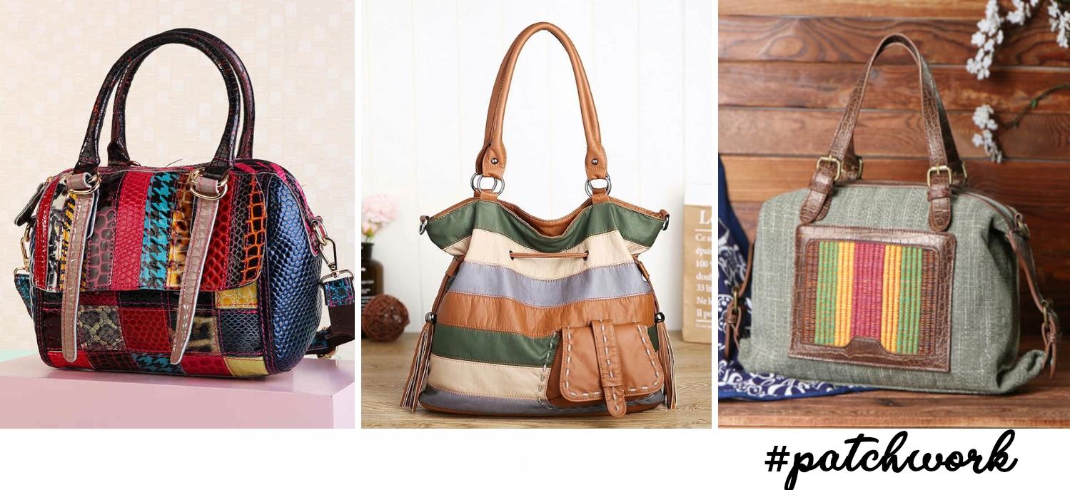 three trendy patchwork handbags