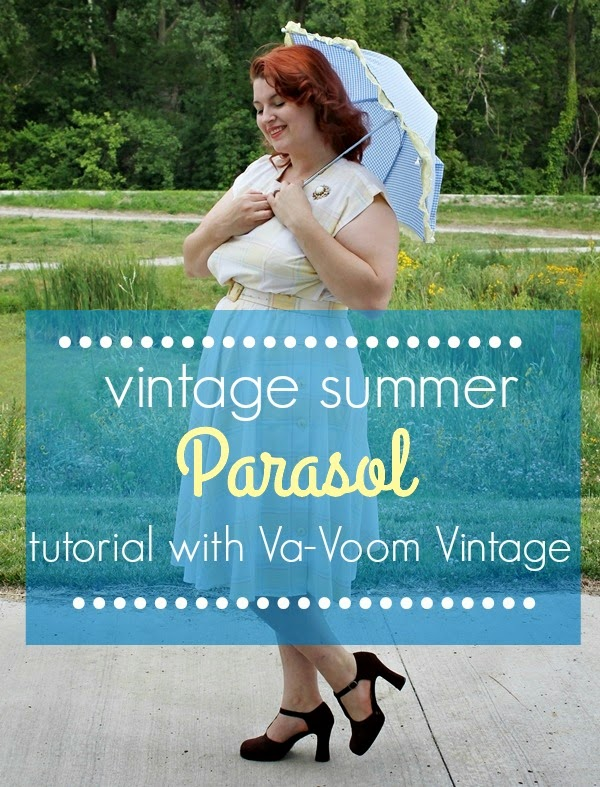 how to make a vintage style parasol from an old umbrella via va-voom vintage