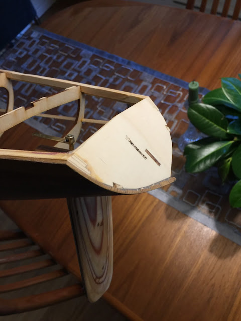 Sun Wind II Wood RC Sailboat transom