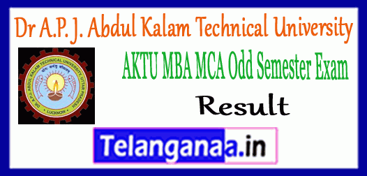 AKTU Dr A.P. J. Abdul Kalam Technical University MBA MCA Exam Result