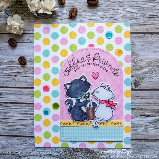 Kitties sharing a coffee card by Zsofia Molnar | Newton's Sweetheart Stamp Set by Newton's Nook Designs #newtonsnook #handmade