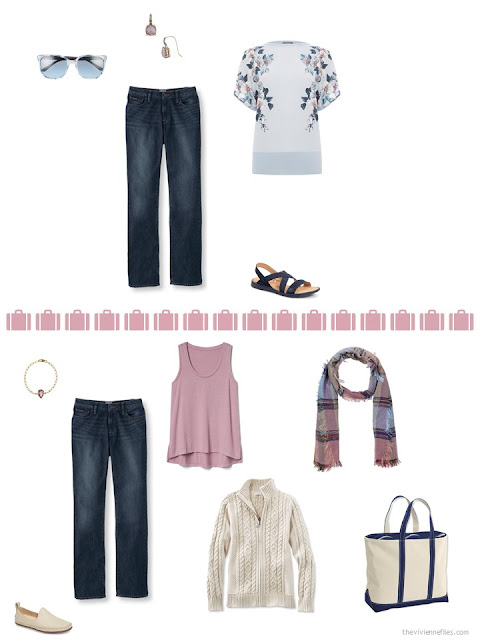 2 ways to style jeans from a travel capsule wardrobe