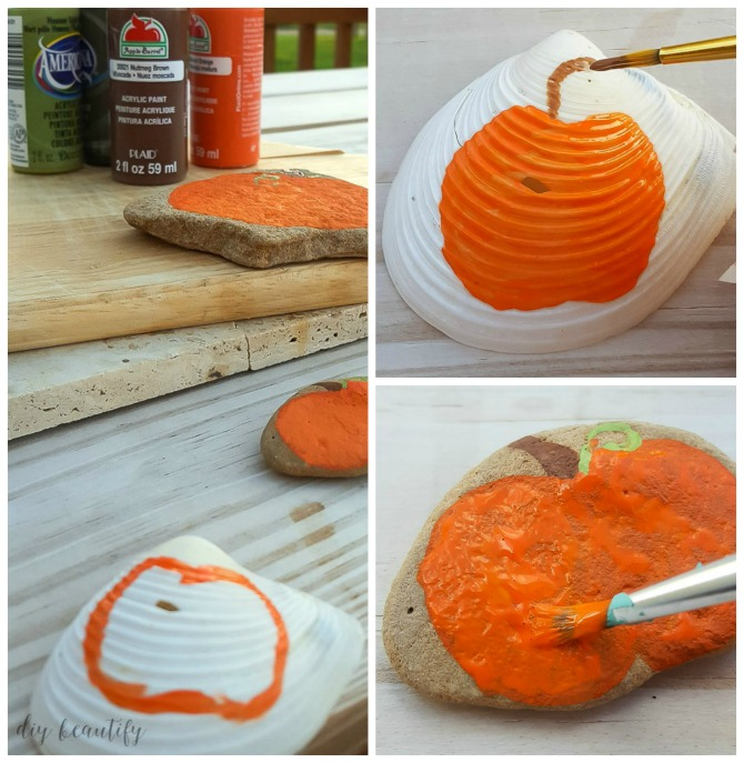 how to paint pumpkins onto shells and rocks