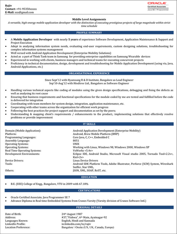 impressive resume format  freshers  experienced  cv sample for job seekers