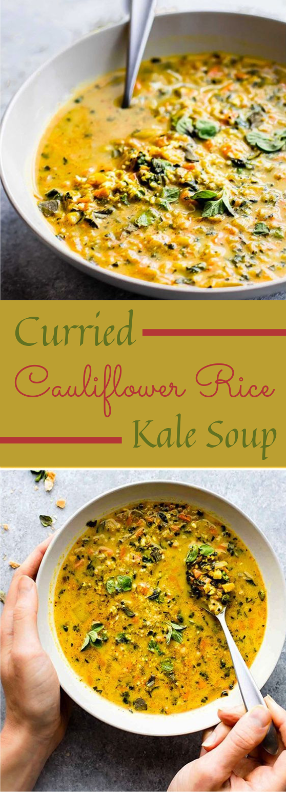 Curried Cauliflower Rice Kale Soup