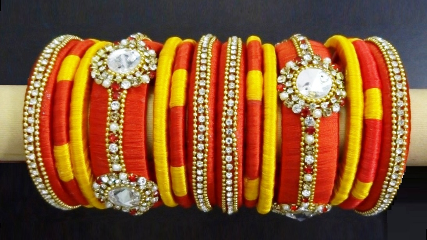 This DIY Silk Thread Bangle Set Can Be Coupled With Earrings And Necklace To Make A Complete Jewelry Of