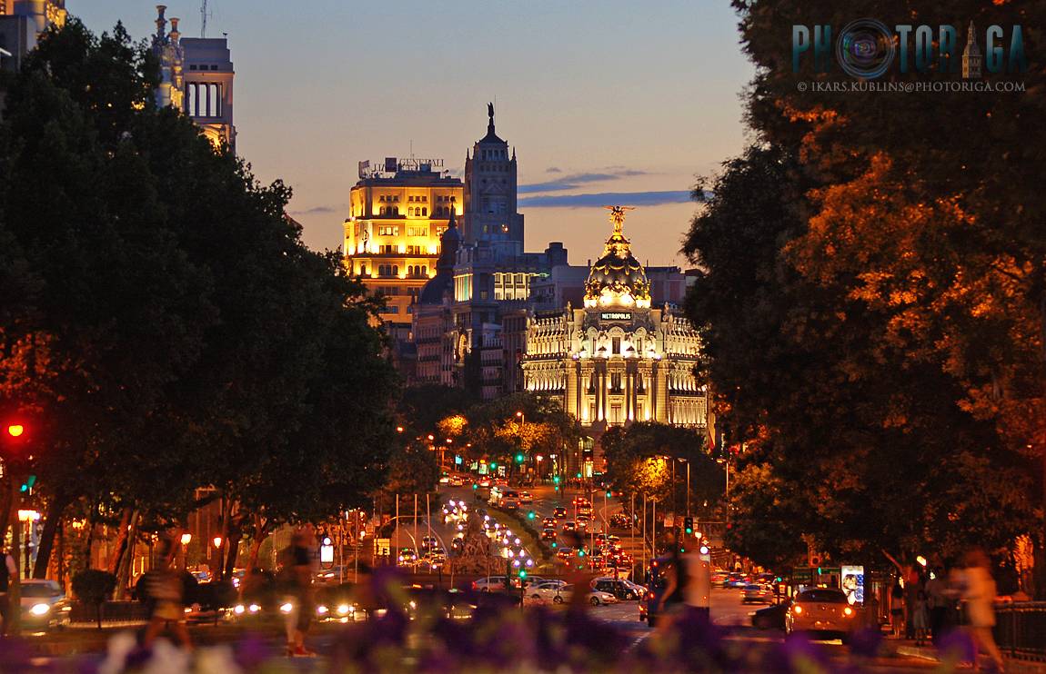 Central street of Madrid in evening lights