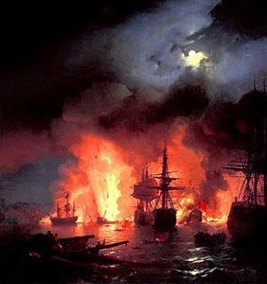 Η ναυμαχία του Τσεσμέ. Πίνακας του Ivan Constantinovich Aivazovsky