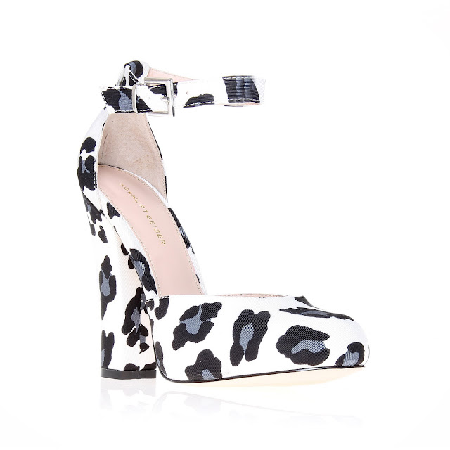 black and white animal print ankle strap shoes