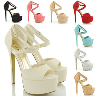 £17.99 womens peep toe strappy platform stiletto ladies high heel sandal shoes 3-8uk