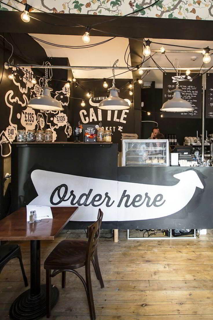 24 konsep desain interior cafe minimalis vintage outdoor for Mural untuk cafe