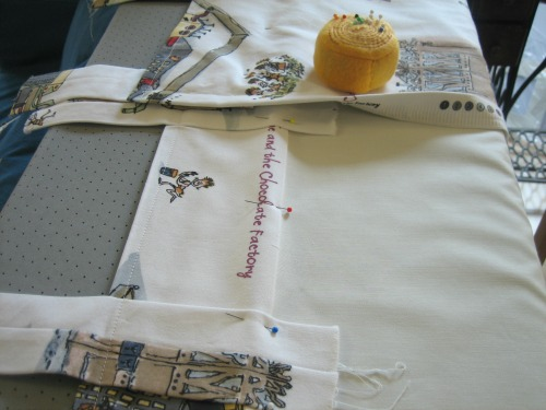 Pinning and ironing curtains to sew - Our Handmade Home