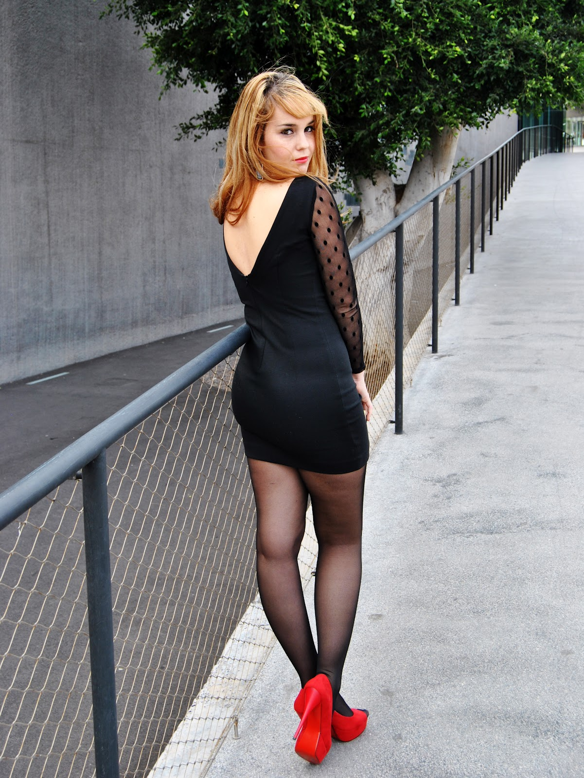 nery hdez, dots, red shoes, LBD. Little black dress