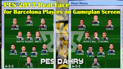 PES 2017 Real Face for Barcelona Players on Gameplan Screen by PES DAHRY