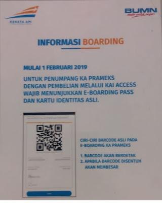 Pengumuman mengenai penggunaan Boarding pass online Kereta Api