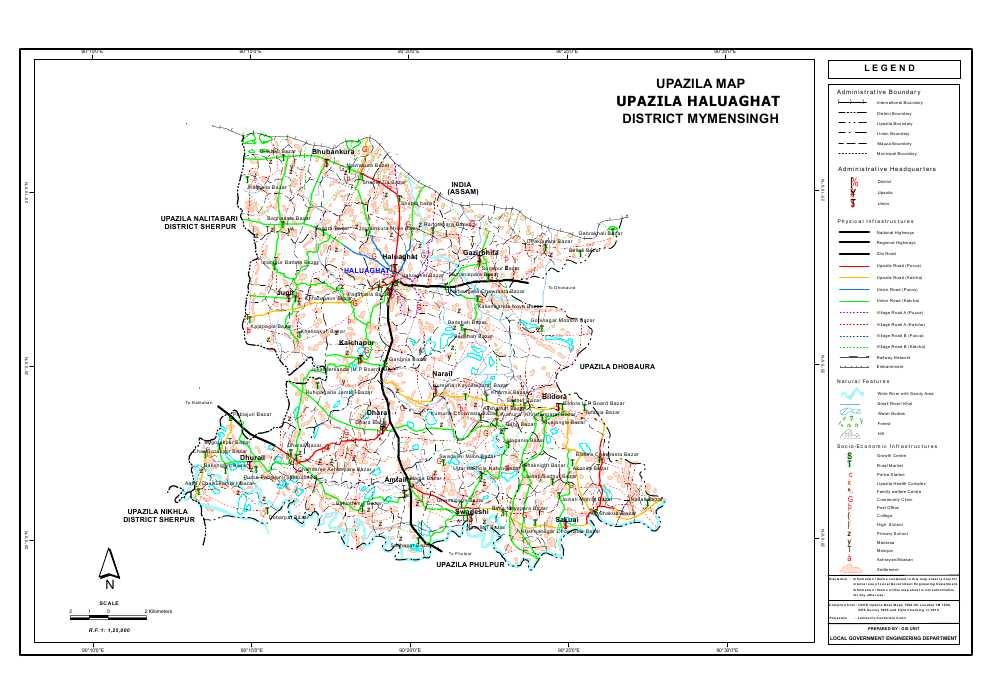 Haluaghat Upazila Map Mymensingh District Bangladesh