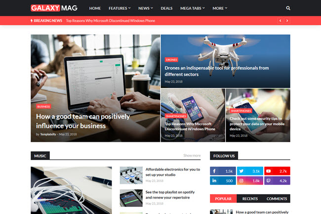 [Free Download] GalaxyMag - Responsive News & Magazine Blogger Template