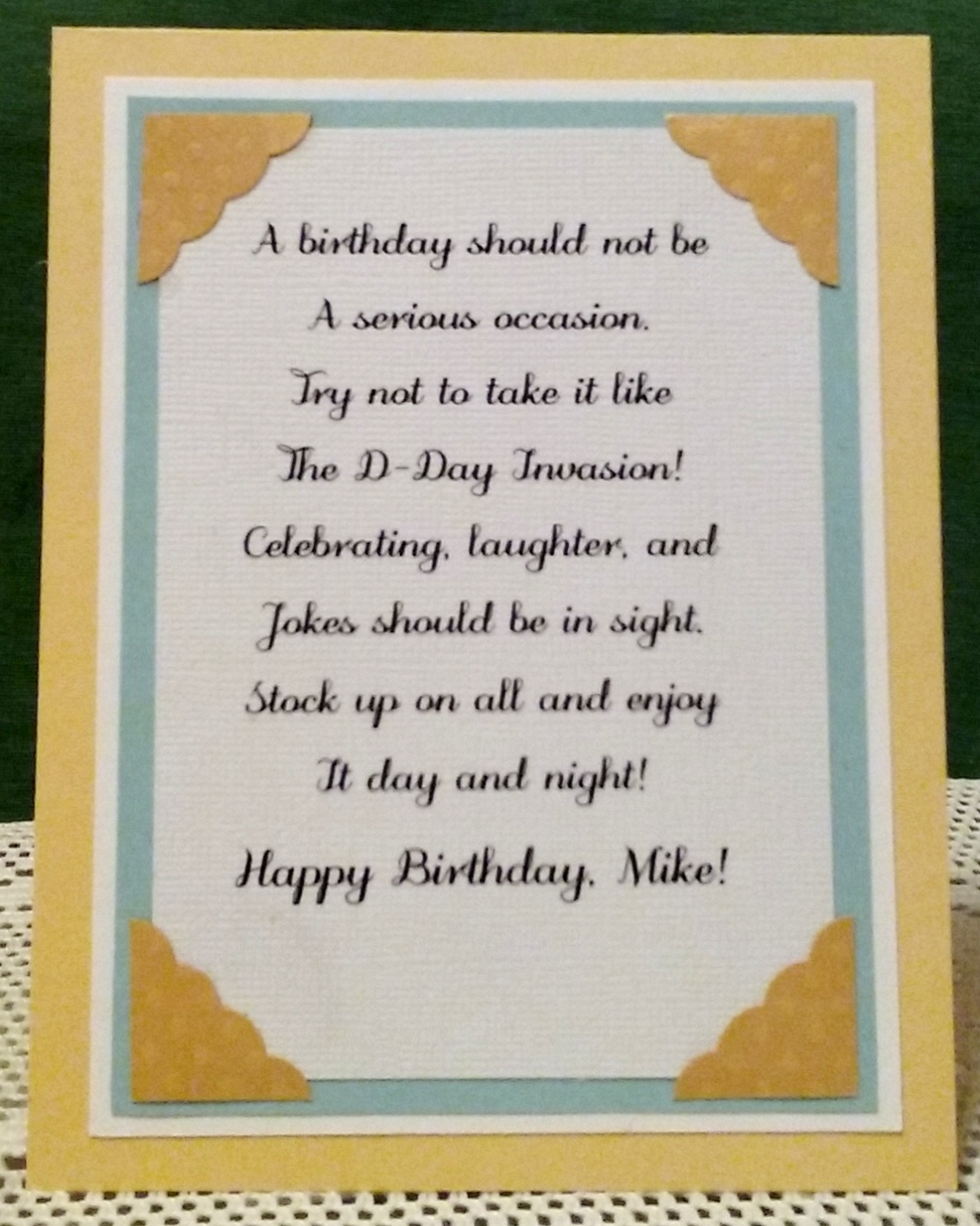 Embellishments And A Nice Verse Suited To My Brothers Birthday Below Is Finished Inside Design Share