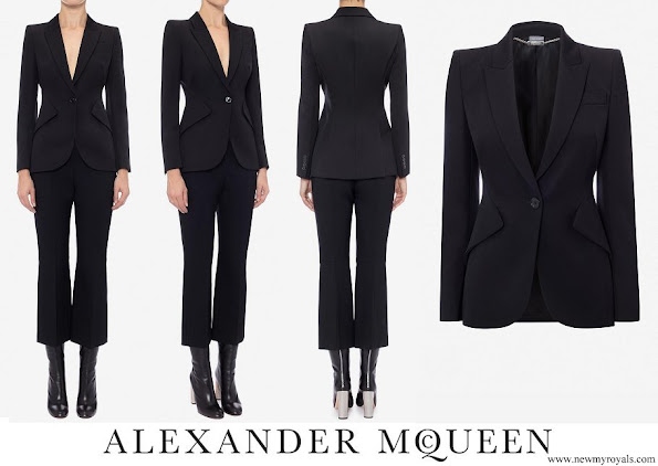 Crown Princess Mary wore Alexander McQueen Black leaf crepe jacket