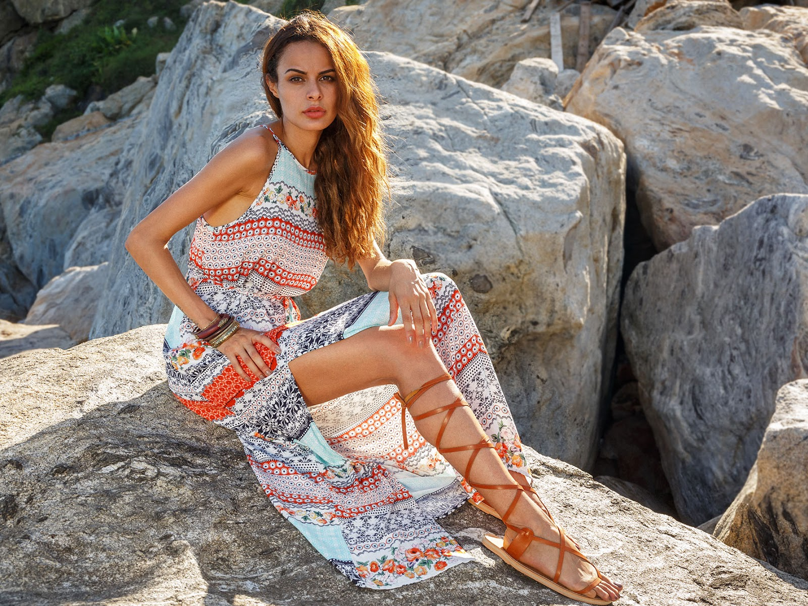Printed Slip Dress With Drawstring Waist