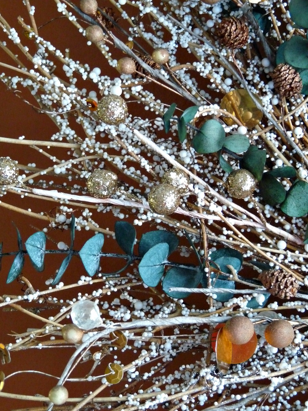 Gold and teal wreath