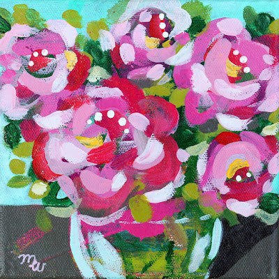 Flower painting by artist Merrill Weber framed original acrylic on canvas 6 x 6 Celebration 111 framed