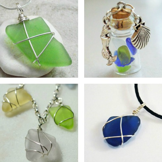 Genuine Beach Glass Pendant Necklace Jewelry Pieces