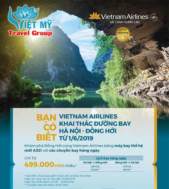 Vietnam Airlines khai thác đường bay Hà Nội - Đồng Hới chỉ từ 499k