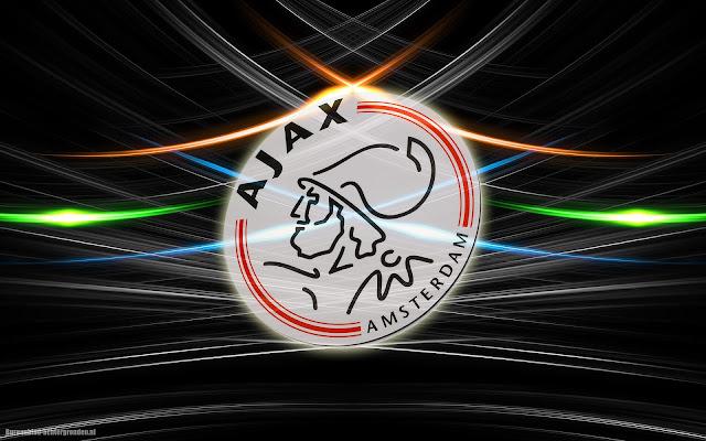 Zwarte abstracte Ajax achtergrond met logo en lijnen