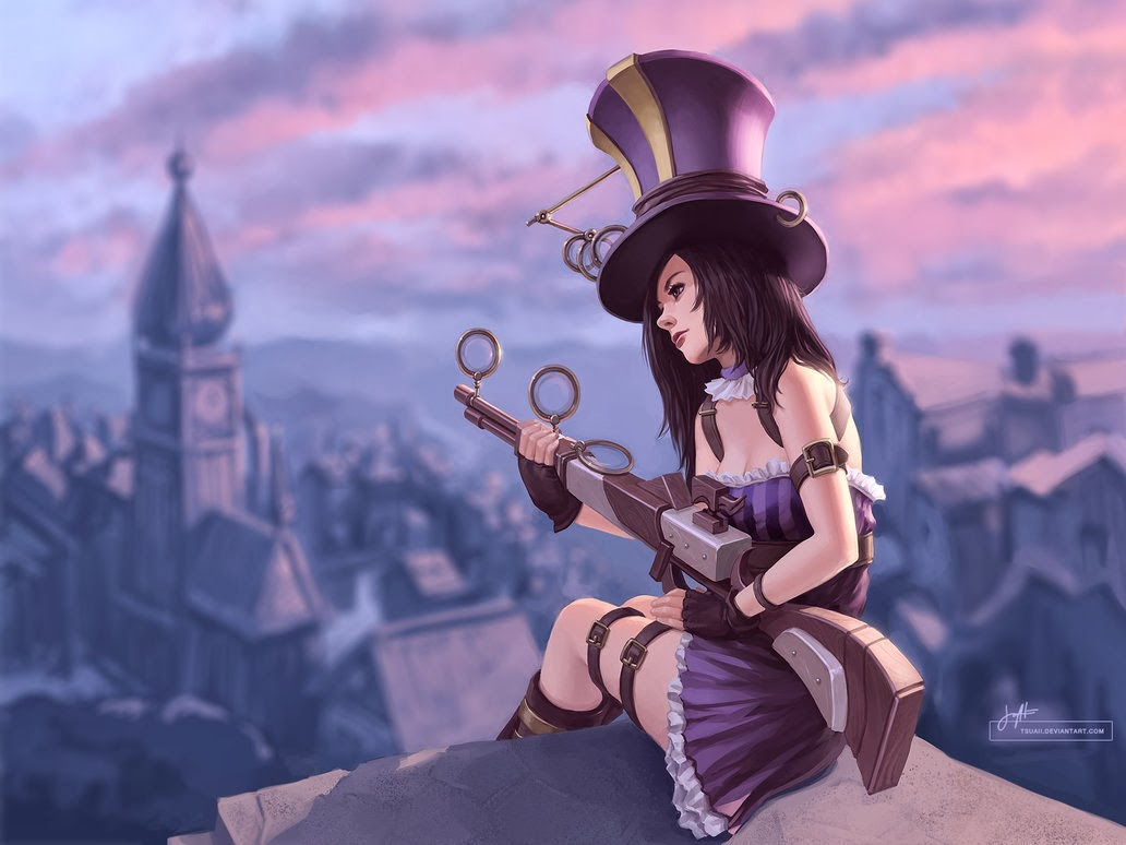 caitlyn wallpaper, lol, piltover