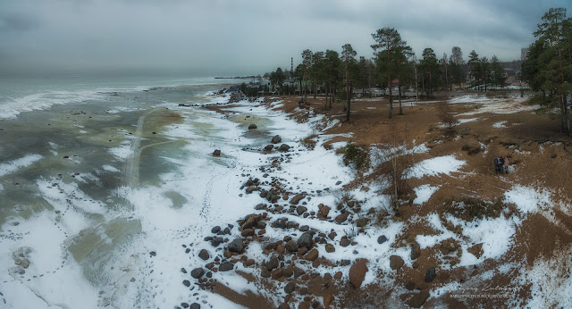 Панорама Ладожского озера на Осиновецкий маяк с квадрокоптера DJI Phantom 3 Advancrd