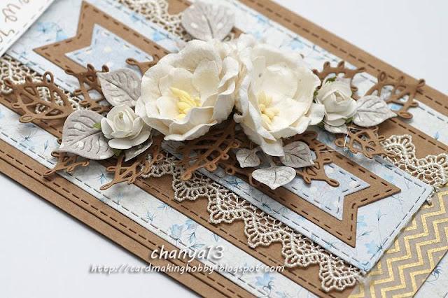 romantyczny bukiet jest ozdobą ślubnek kartki