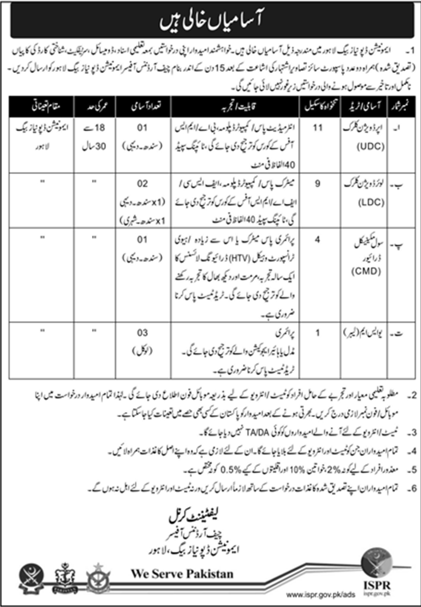 Jobs In Pakistan Army at Ammunition Depot Lahore for UDC, LDC and others 2018