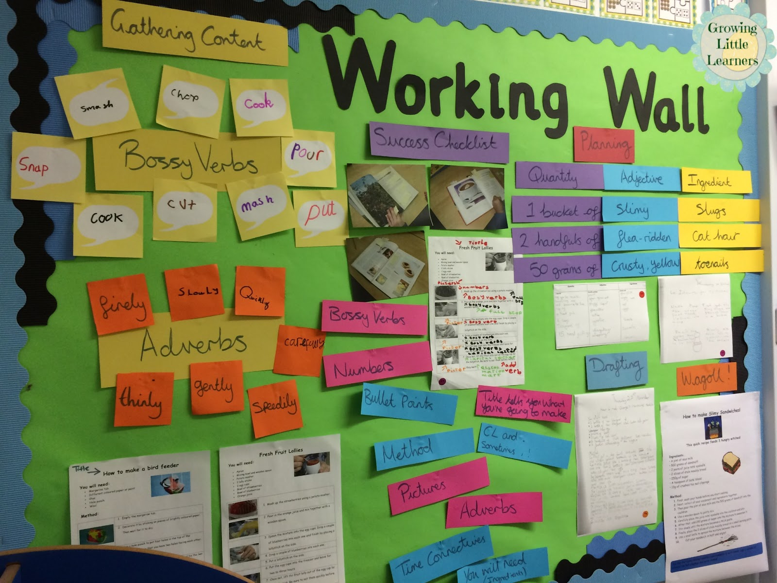 Adventures in Literacy Land: working wall