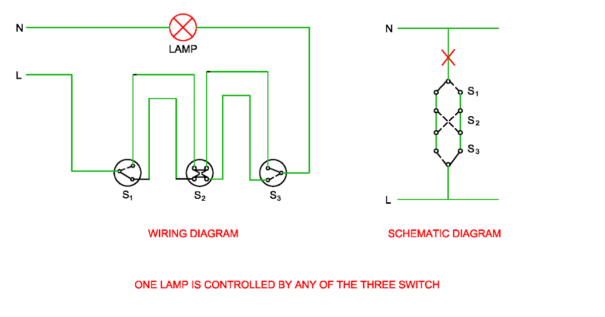 schematic and wiring diagram of one lamp is controlled by. Black Bedroom Furniture Sets. Home Design Ideas
